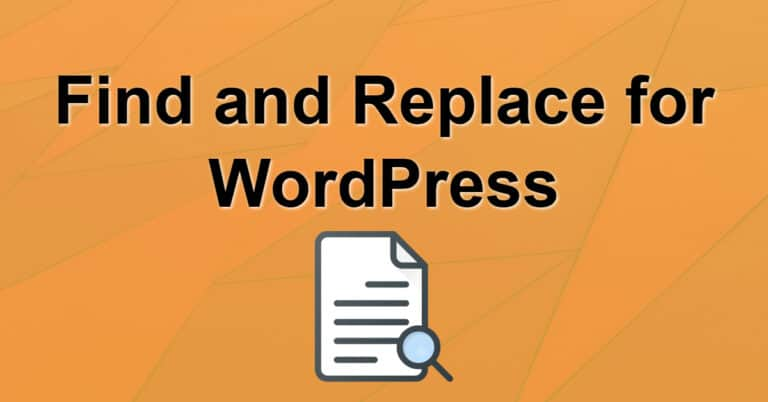 Find and Replace for WordPress